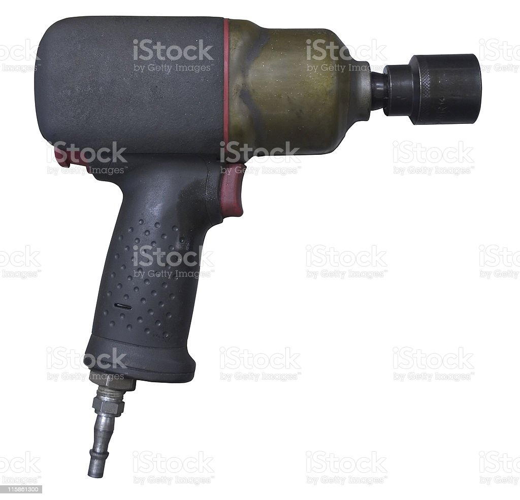 Mechanics air powered rattle gun on white with path royalty-free stock photo