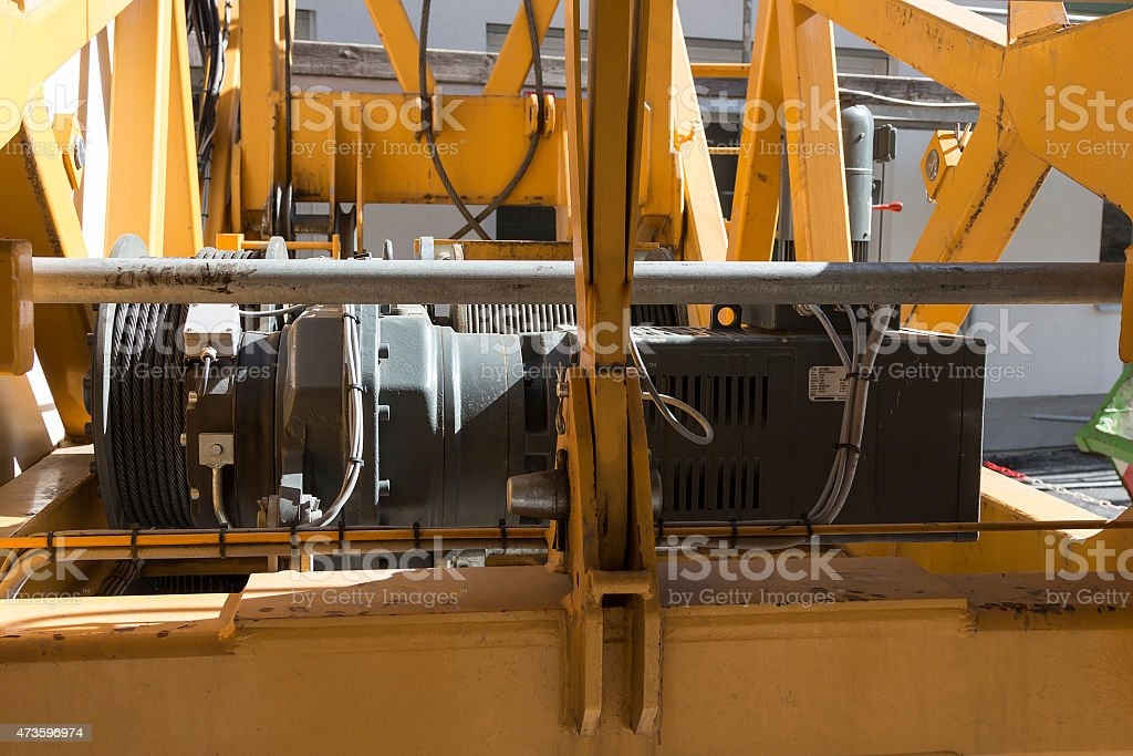 Mechanics on a crane royalty-free stock photo