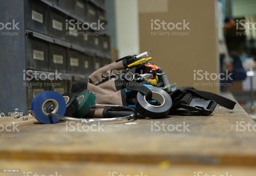 Mechanic's tool bag stock photo