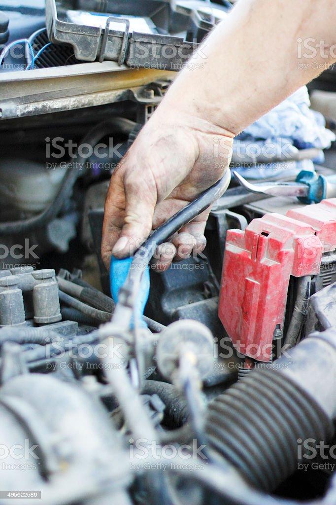 Mechanics working stock photo