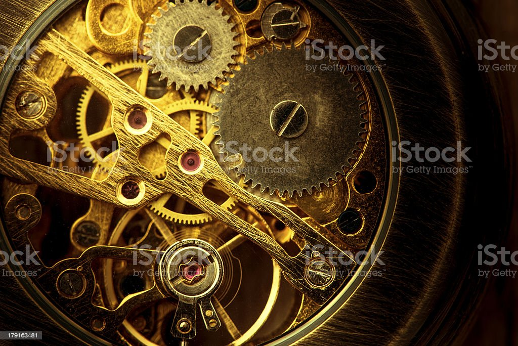 Mechanism of an old pocket watch stock photo