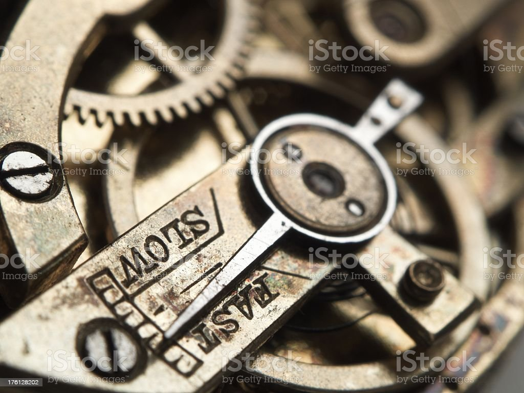 Mechanism of an old watch stock photo