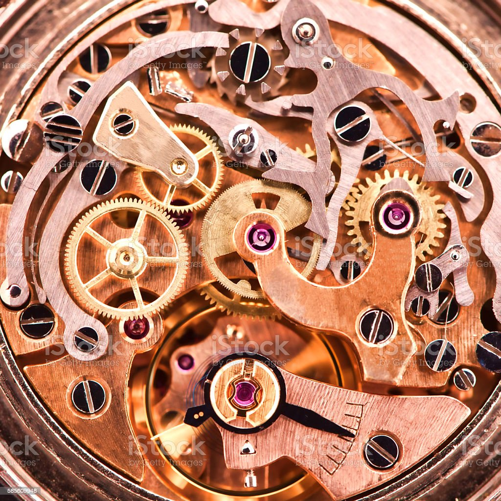 Mechanism of an old wrist watch stock photo