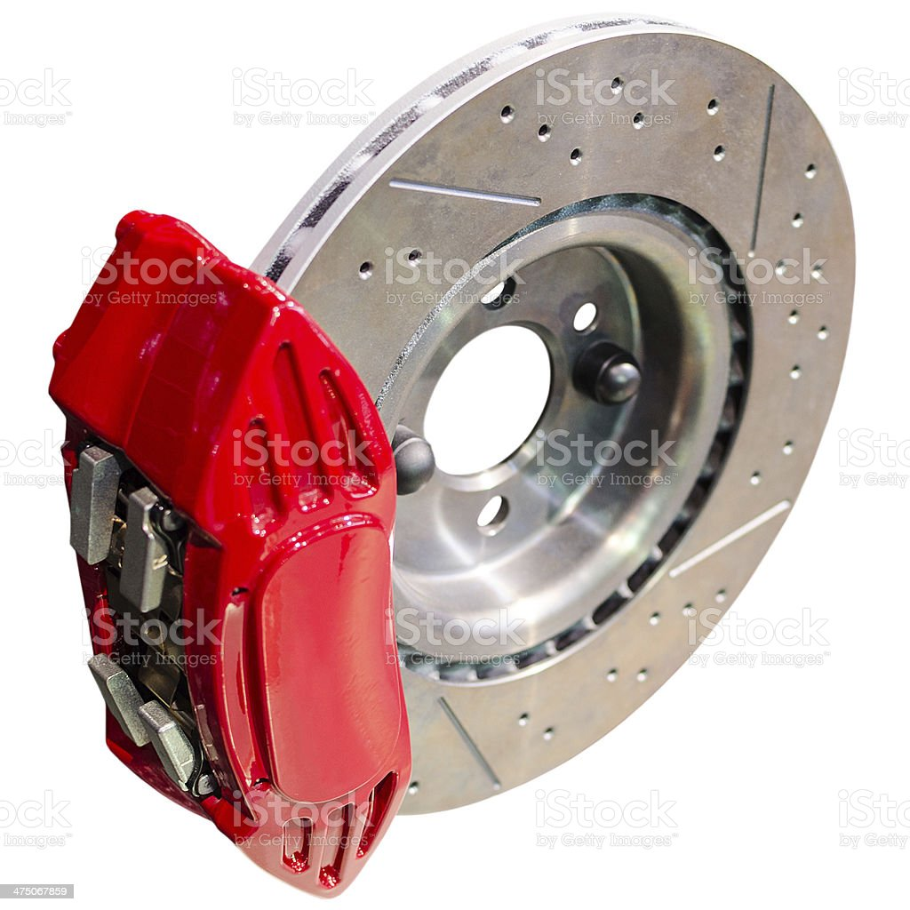 Mechanism of automobile disc brakes: assembled caliper with disk stock photo