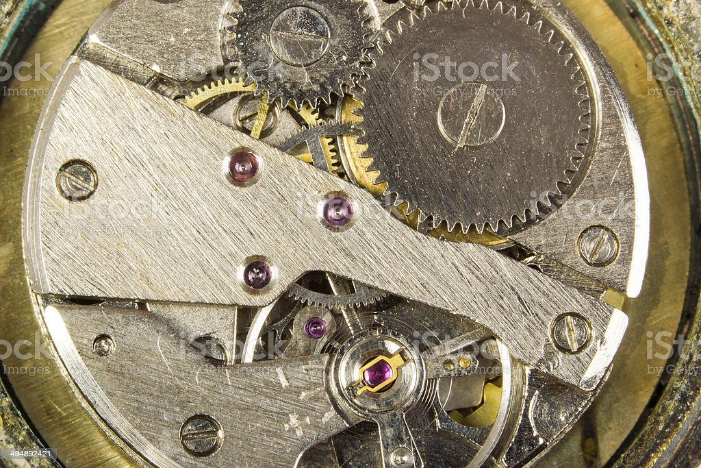 Mechanism of hours close up stock photo