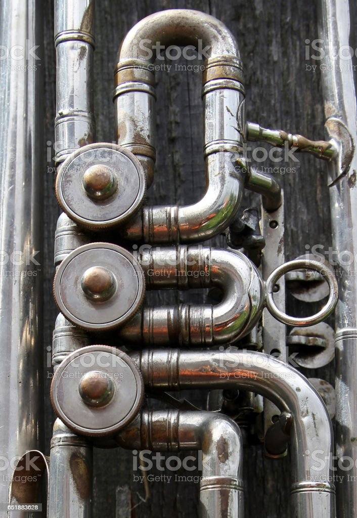 Mechanism of old trumpet stock photo