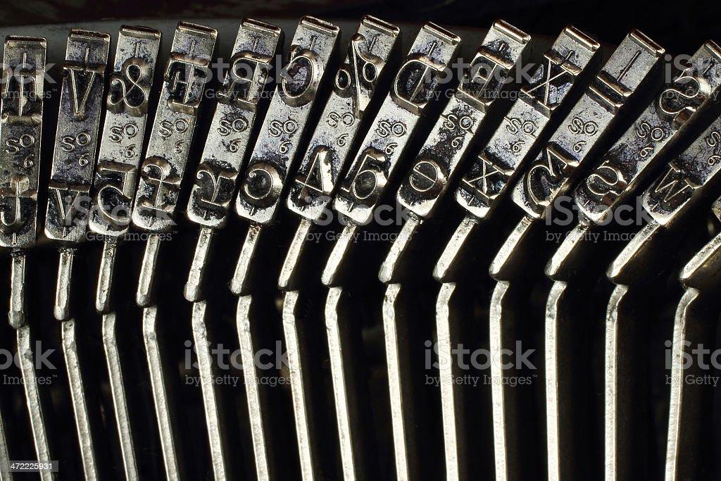 Mechanism of typing machine stock photo