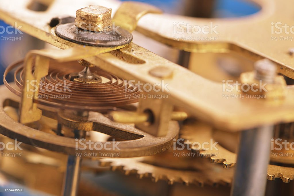 Mechanism the old alarm clock royalty-free stock photo