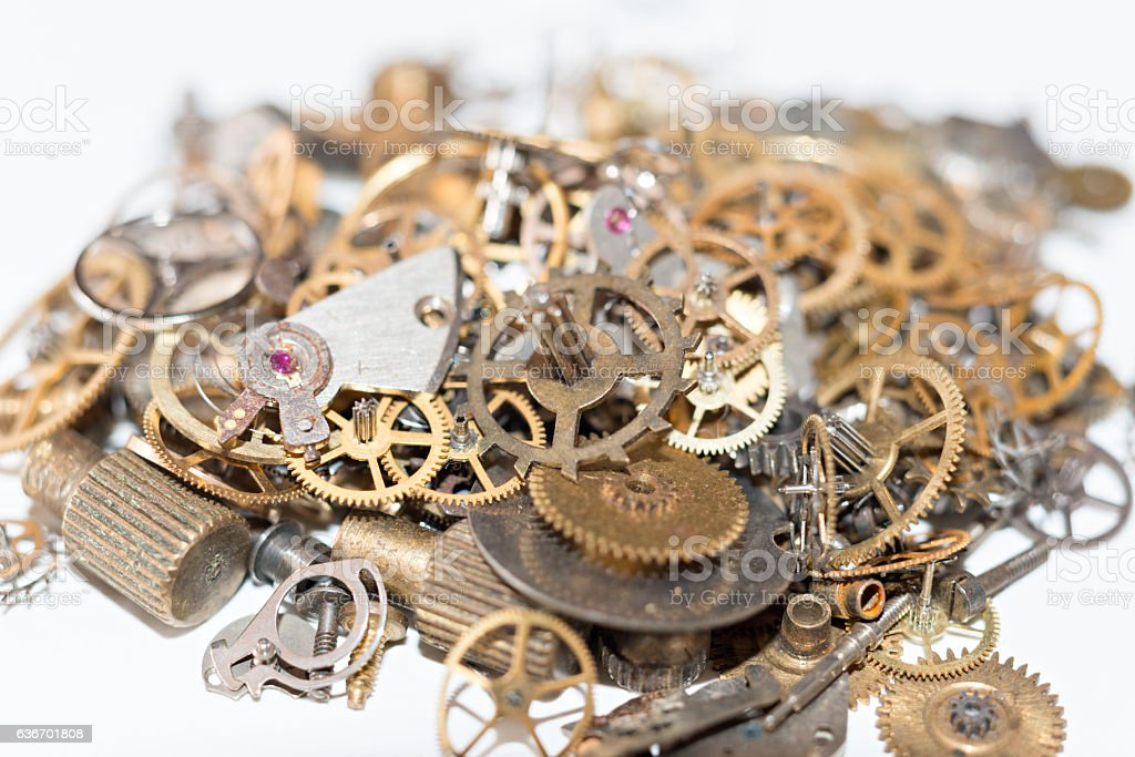 Mechanisms of watches stock photo