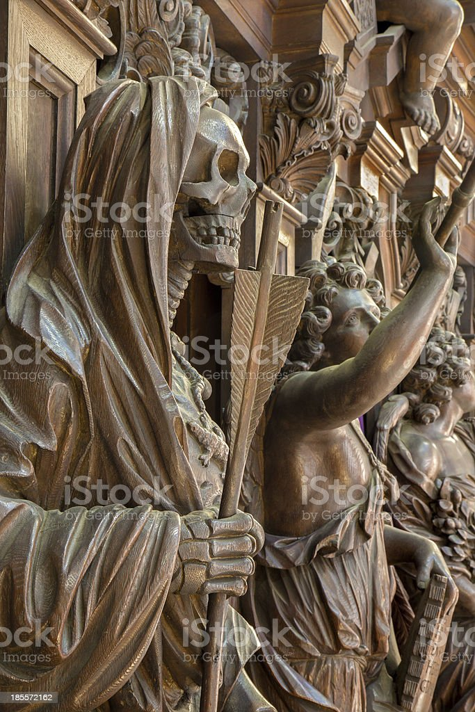 Mechelen - Carved Apocalyptic death statue royalty-free stock photo