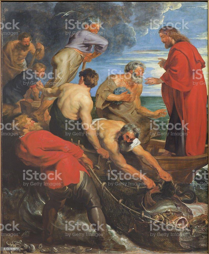 Mechelen - The Miracle fishing (1618) by Peter Paul Rubens stock photo