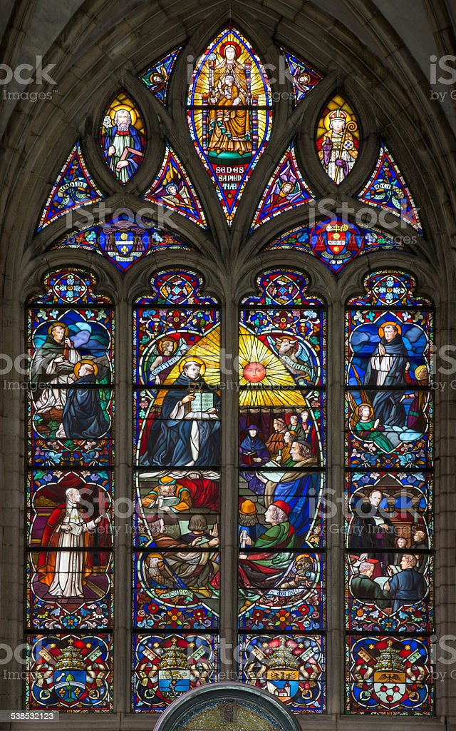 Mechelen - Windowpane of St. Rumbold's cathedral stock photo