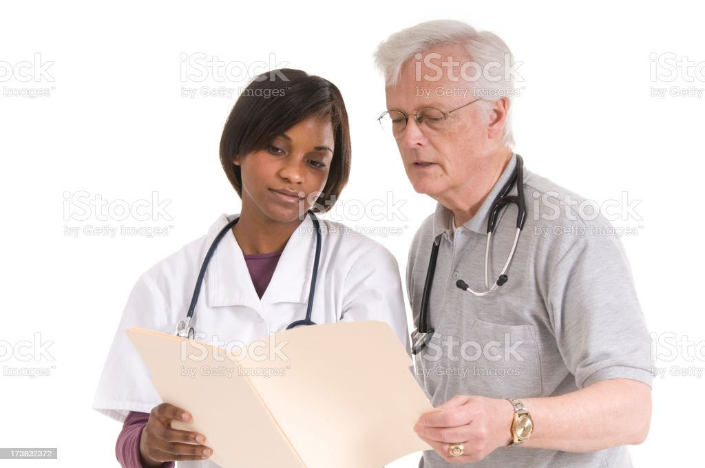 Med Student with Senior Doctor royalty-free stock photo