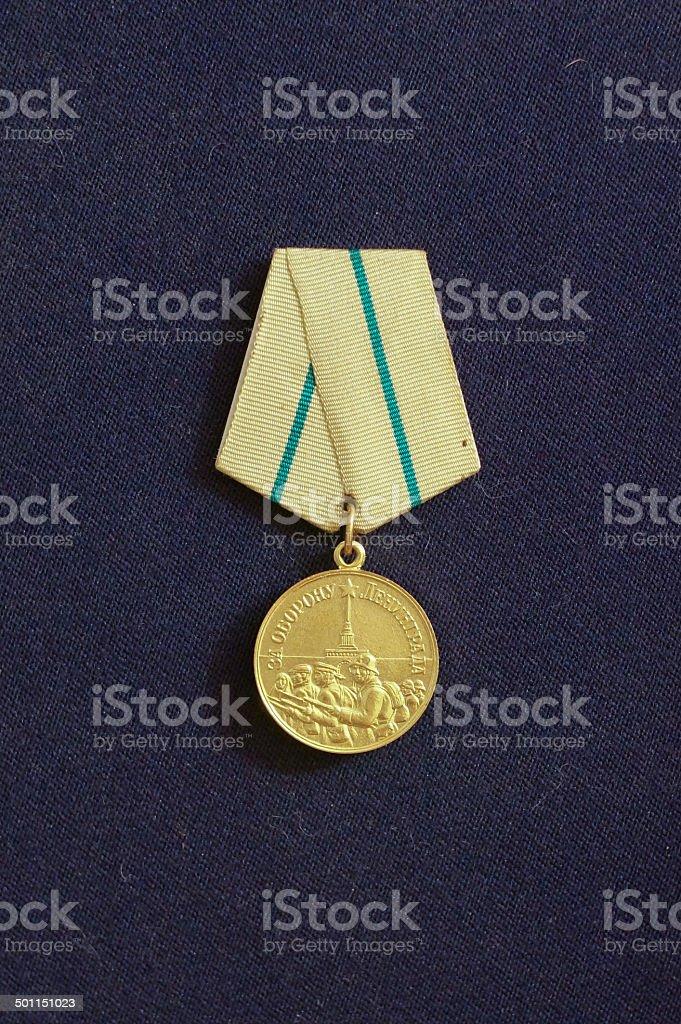Medal 'For the Defense of Leningrad' (USSR) stock photo