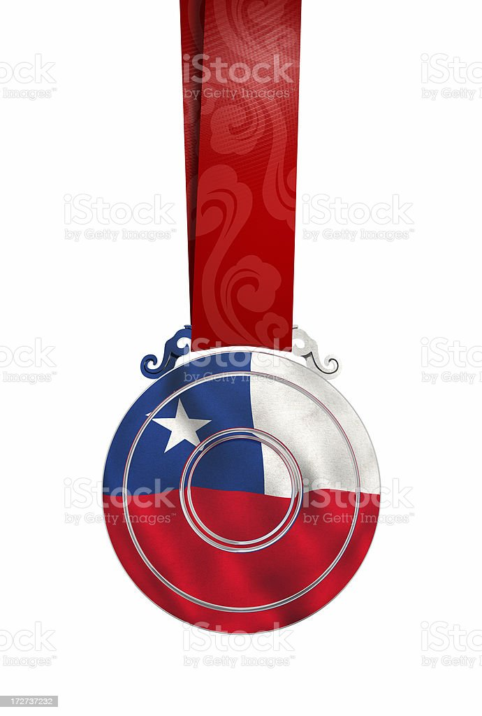 Medal with Chile's flag royalty-free stock photo