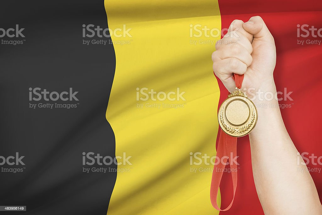 Medal with flag on background - Kingdom of Belgium stock photo