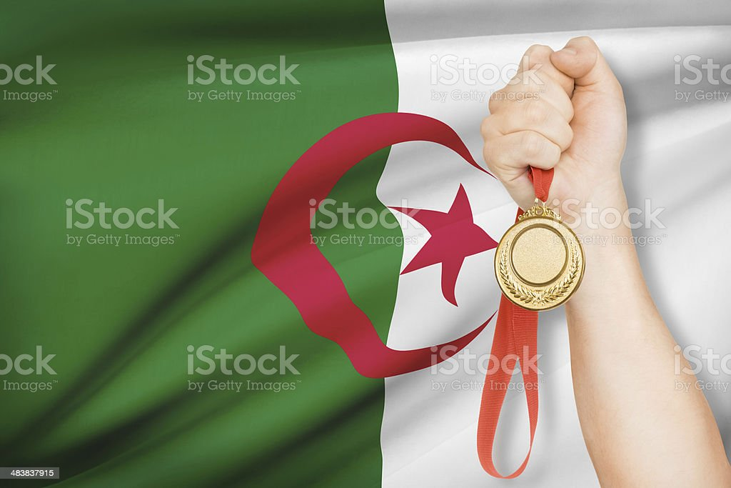 Medal with flag - People's Democratic Republic of Algeria stock photo