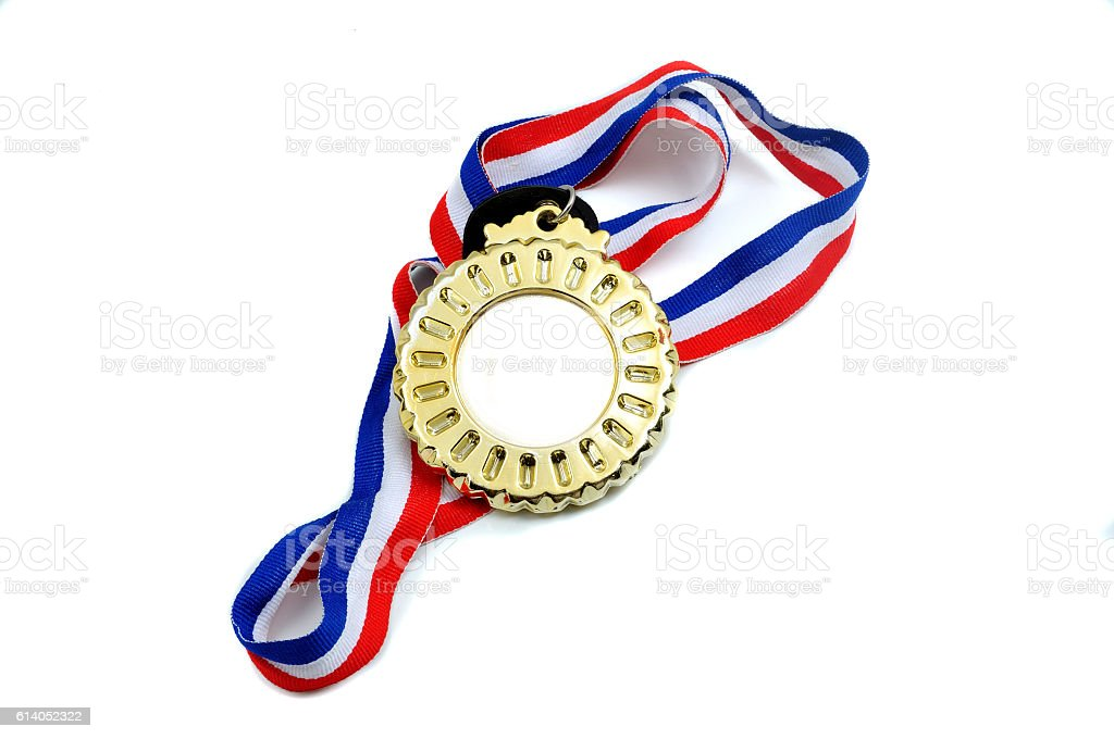 Medal with ribbon isolated on white background stock photo