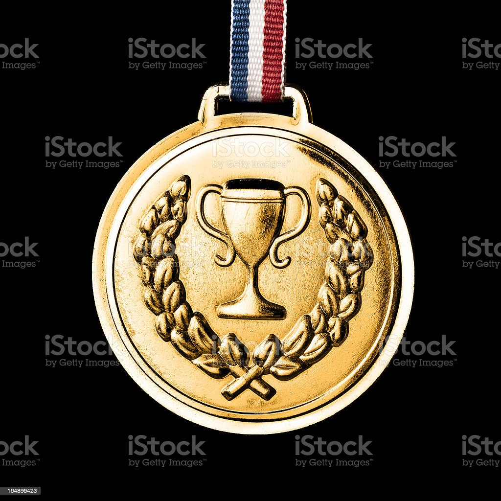 Olympic medals isolated on black: Gold royalty-free stock photo