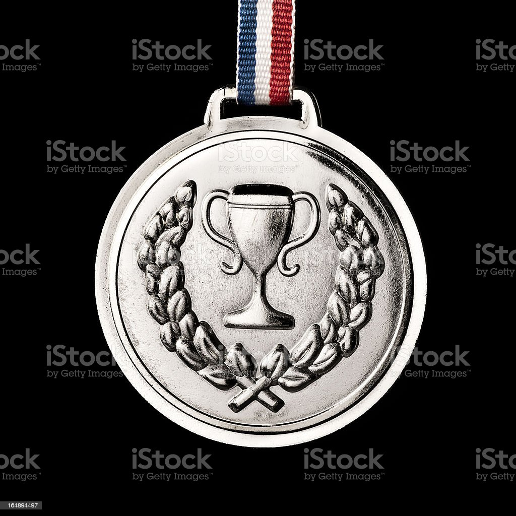 Olympic medals isolated on black: Silver royalty-free stock photo