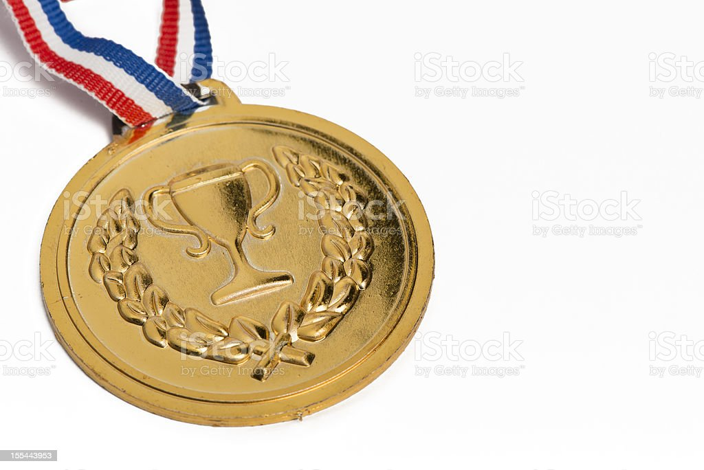 Olympic medals isolated on white: Gold royalty-free stock photo