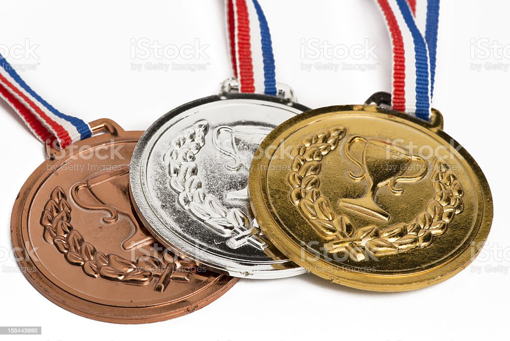 Olympic medals isolated on white stock photo