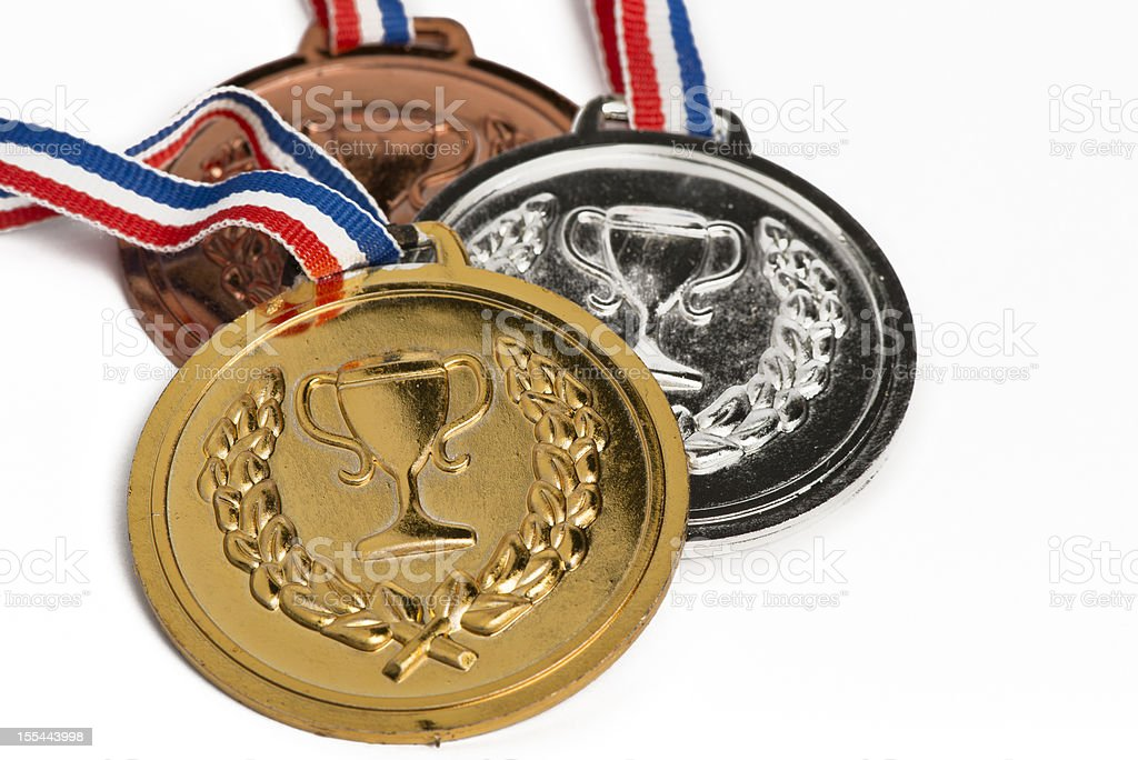 Olympic medals isolated on white royalty-free stock photo