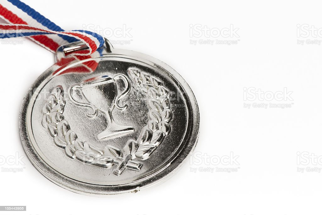 Olympic medals isolated on white: Silver stock photo