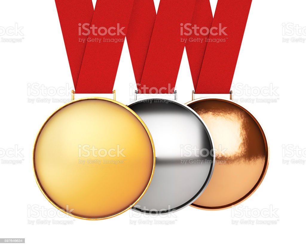 Medals Set. Gold, Silver and Bronze Medal. 3d Rendering stock photo