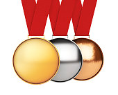 Medals Set. Gold, Silver and Bronze Medal. 3d Rendering