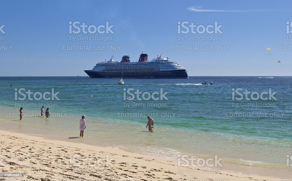 Medano Beach and Cruise Ship in Los Cabos stock photo