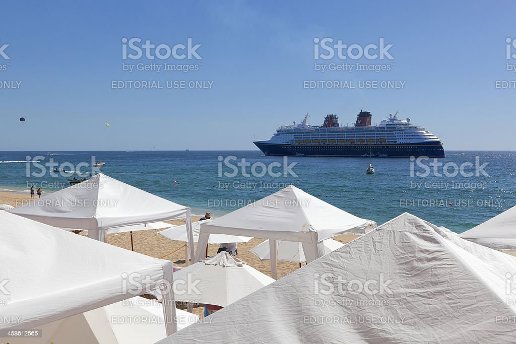 Medano Beach and Cruise Ship in Sea of Cortez stock photo