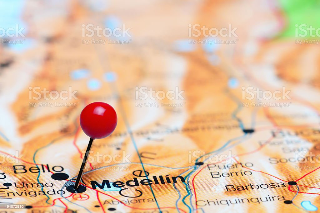 Medellin pinned on a map of America stock photo