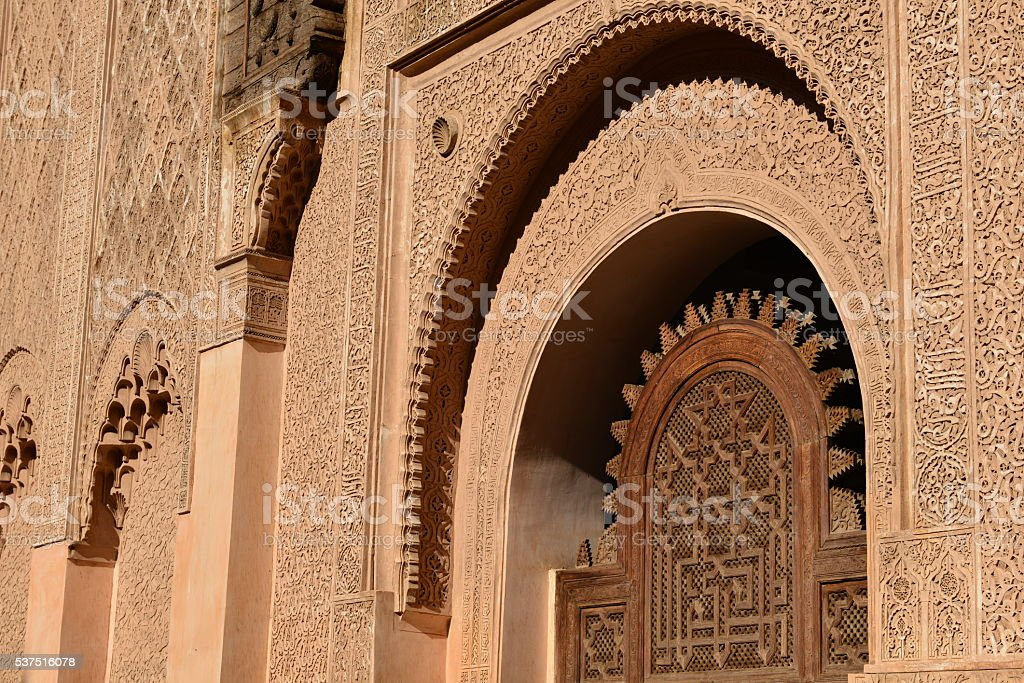 Medersa Ben Youssef, Marrakech, Morocco, Africa. stock photo