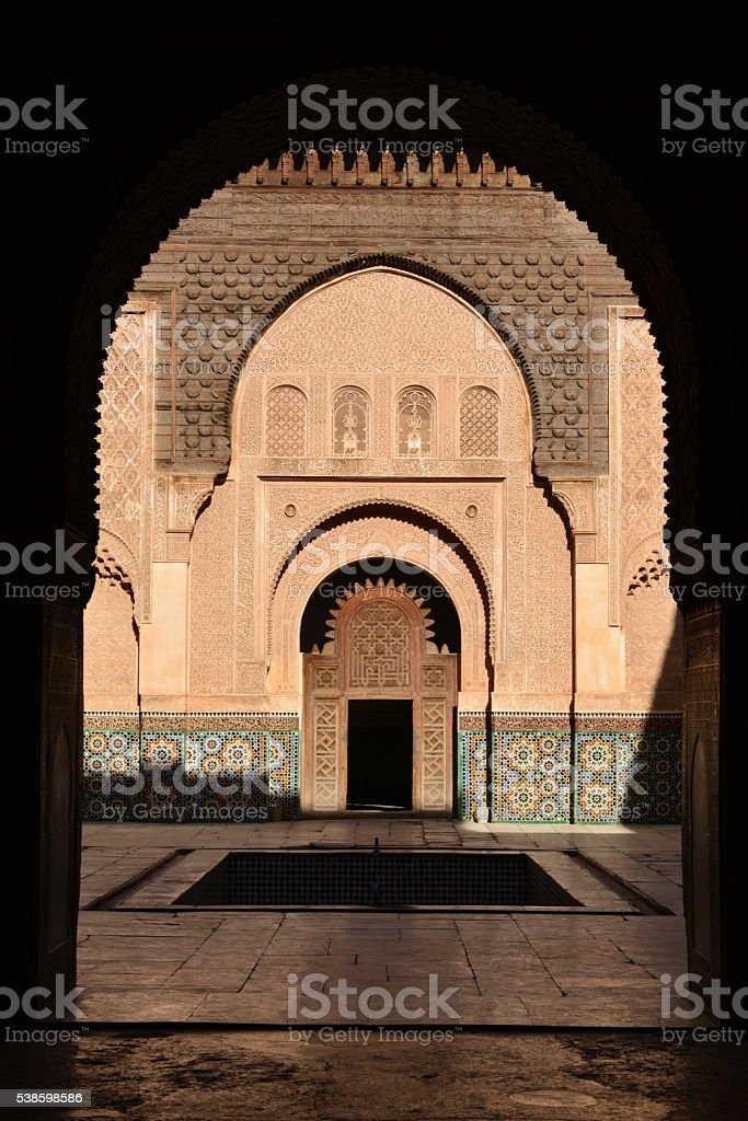 Medersa Ben Youssef, Marrakech, Morocco, Africa. stock photo