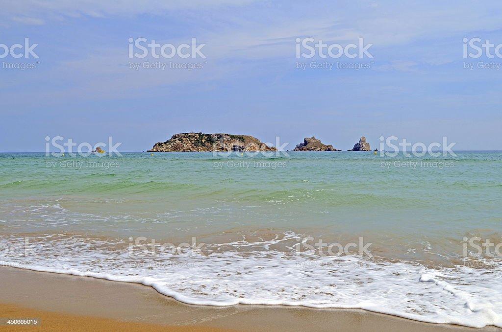 Medes Islands view from Estartit. Costa Brava. Catalonia stock photo