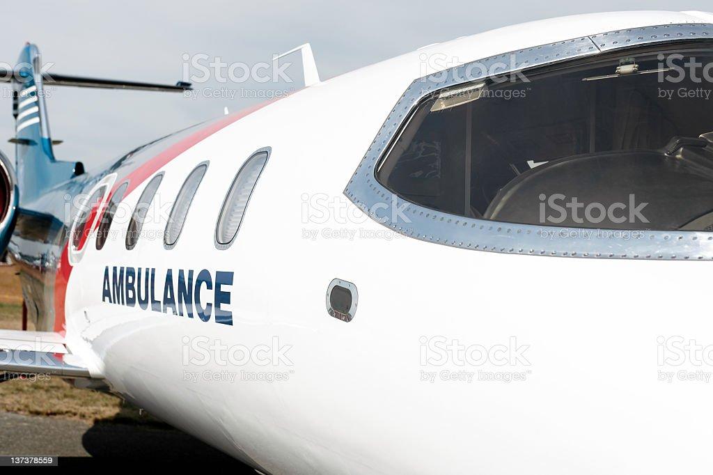 XXL medevac air ambulance jet airplane close-up stock photo