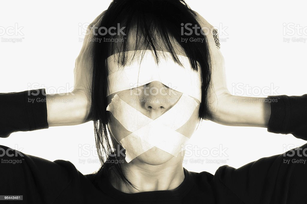 Media blind - censorship concept stock photo