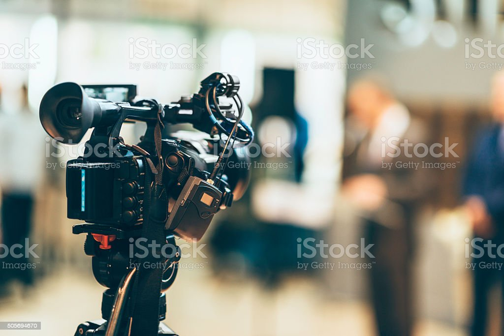 Media camera at publicity event stock photo
