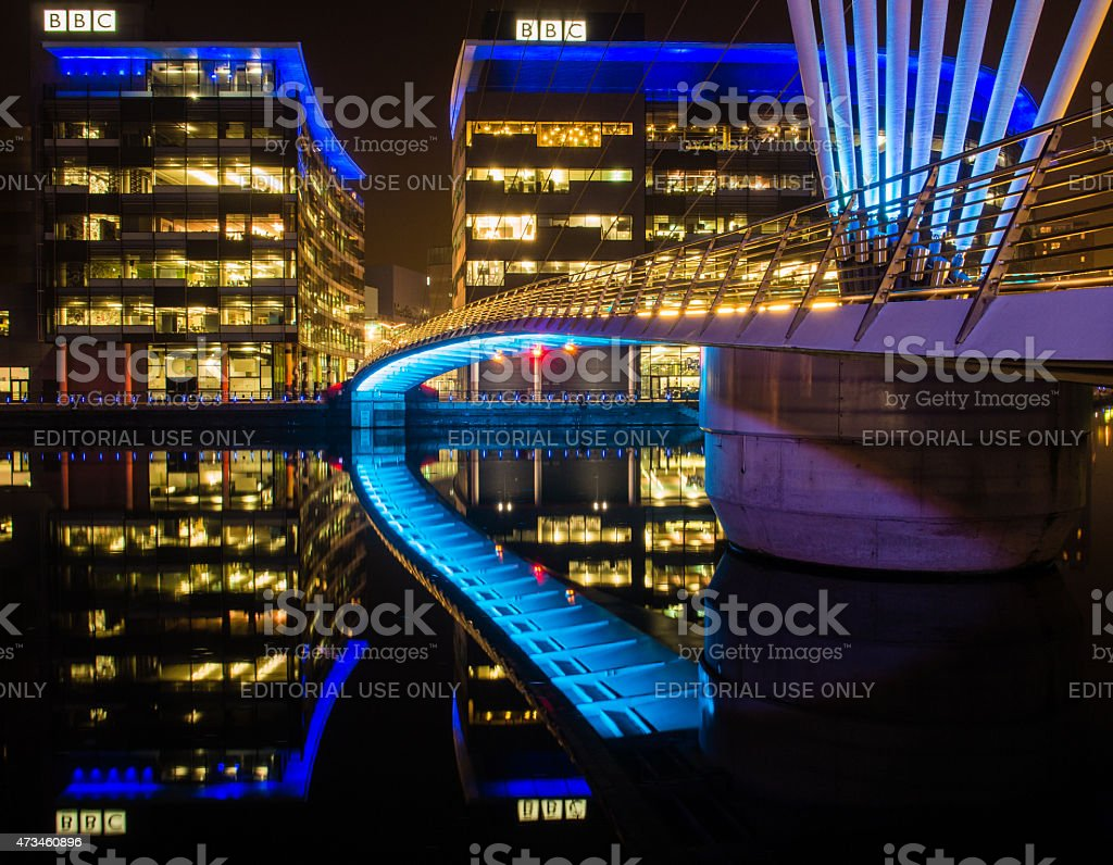 Media City illuminated at Night. Salford, Manchester, UK stock photo