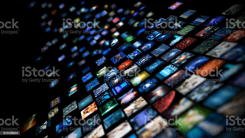 Media concept smart TV stock photo