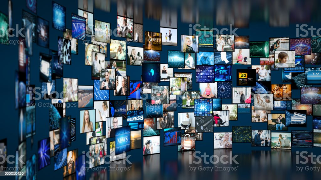 Media concept video wall with small screens stock photo