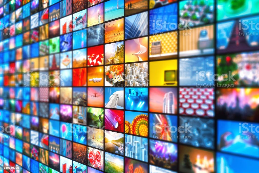 Media entertainment broadcasting video images stock photo