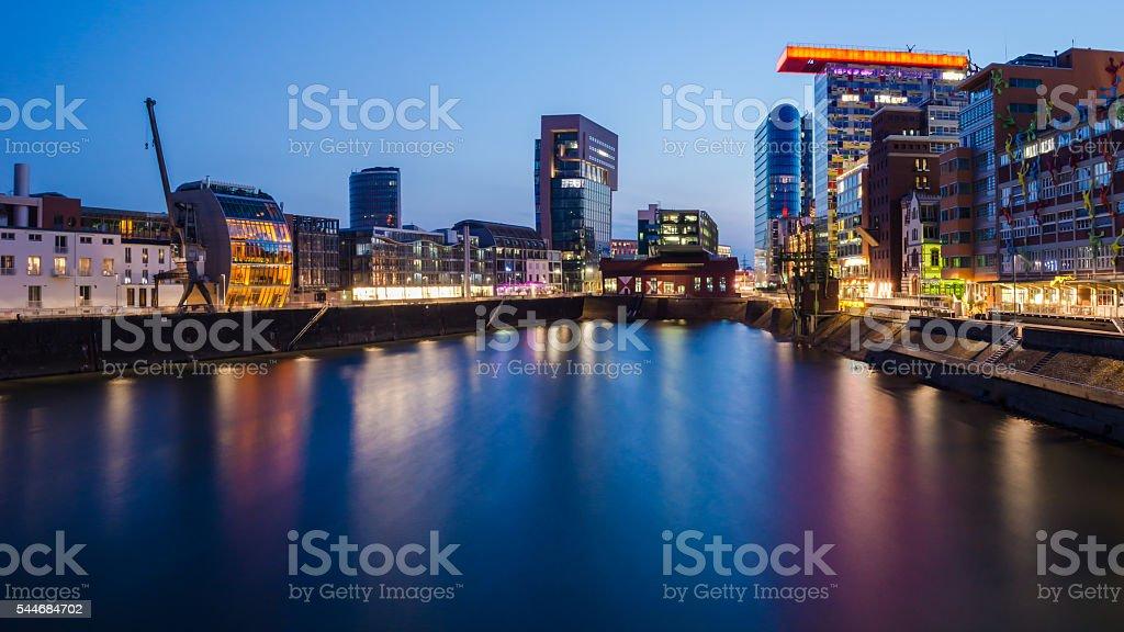 Media harbor in Dusseldorf in the evening stock photo
