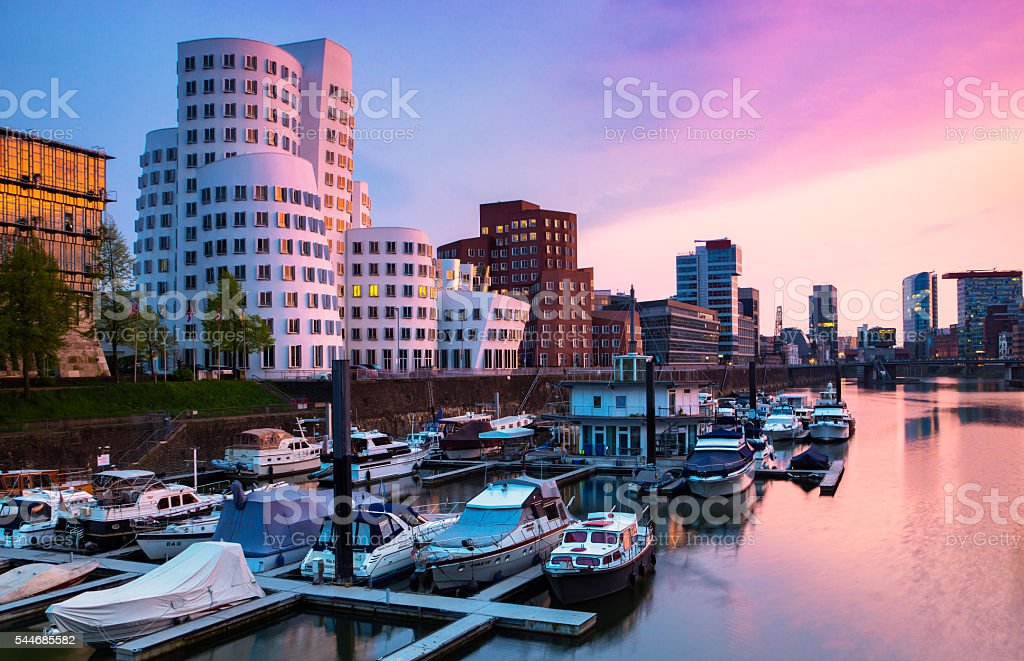 Media harbour in Dusseldorf at the river rhine stock photo