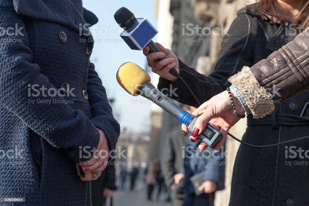 Media interview. Journalism. stock photo