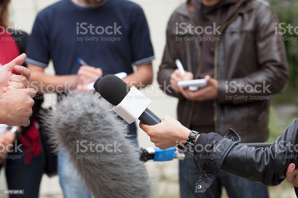 Media interview. Journalists. stock photo