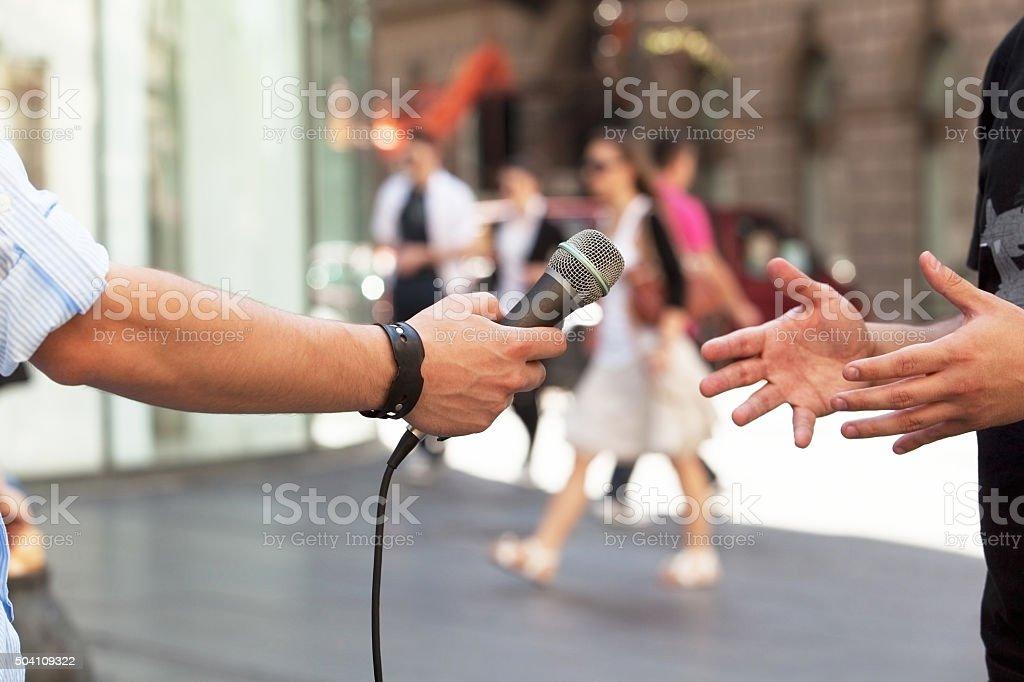 Media interview stock photo