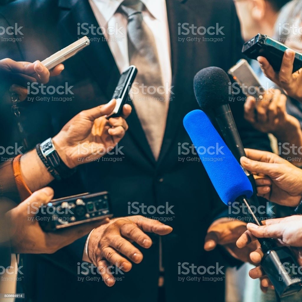 Media interview stock photo