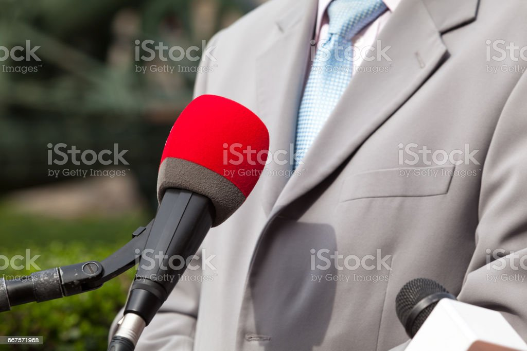 Media interview with business person or politician stock photo